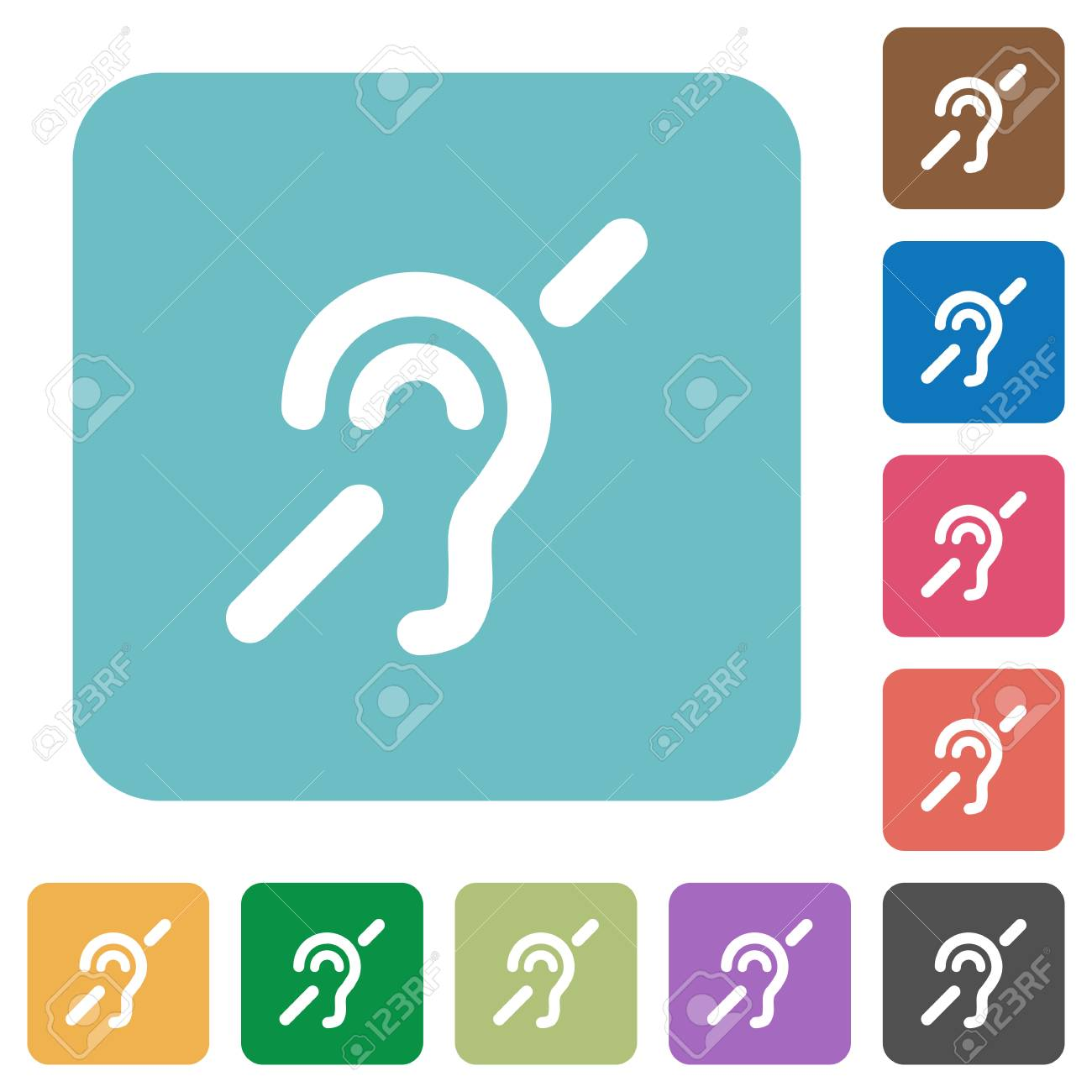 Hearing Impaired White Flat Icons On Color Rounded Square