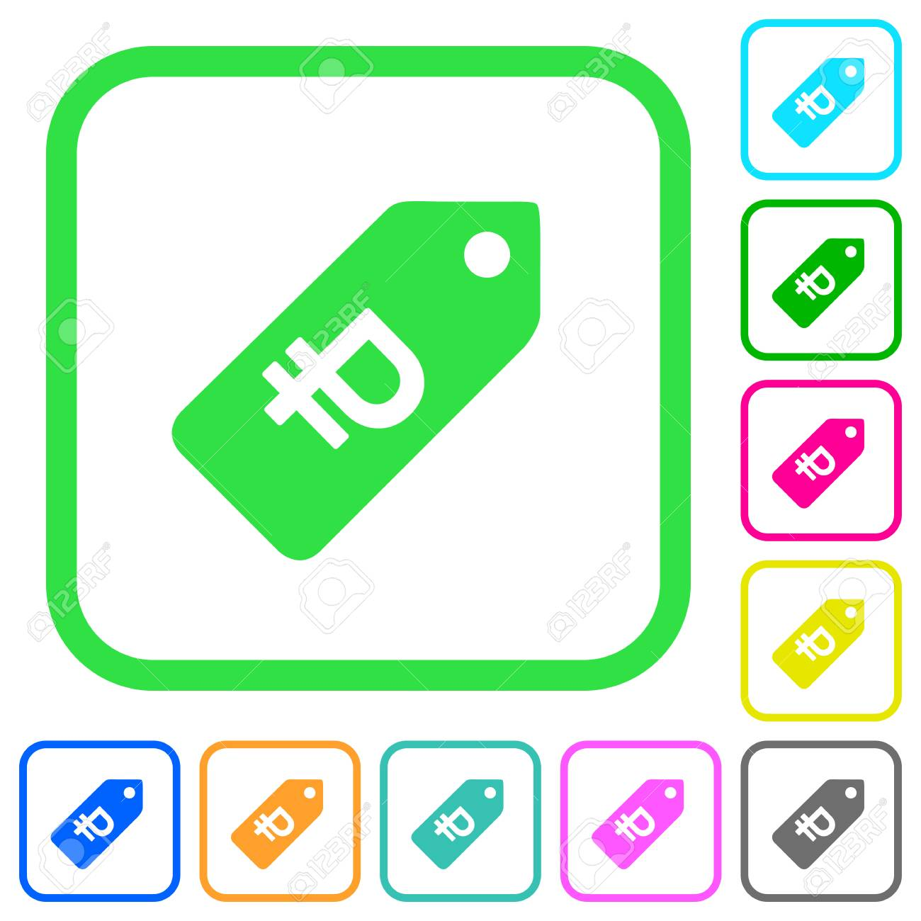 ruble price label vivid colored flat icons in curved borders
