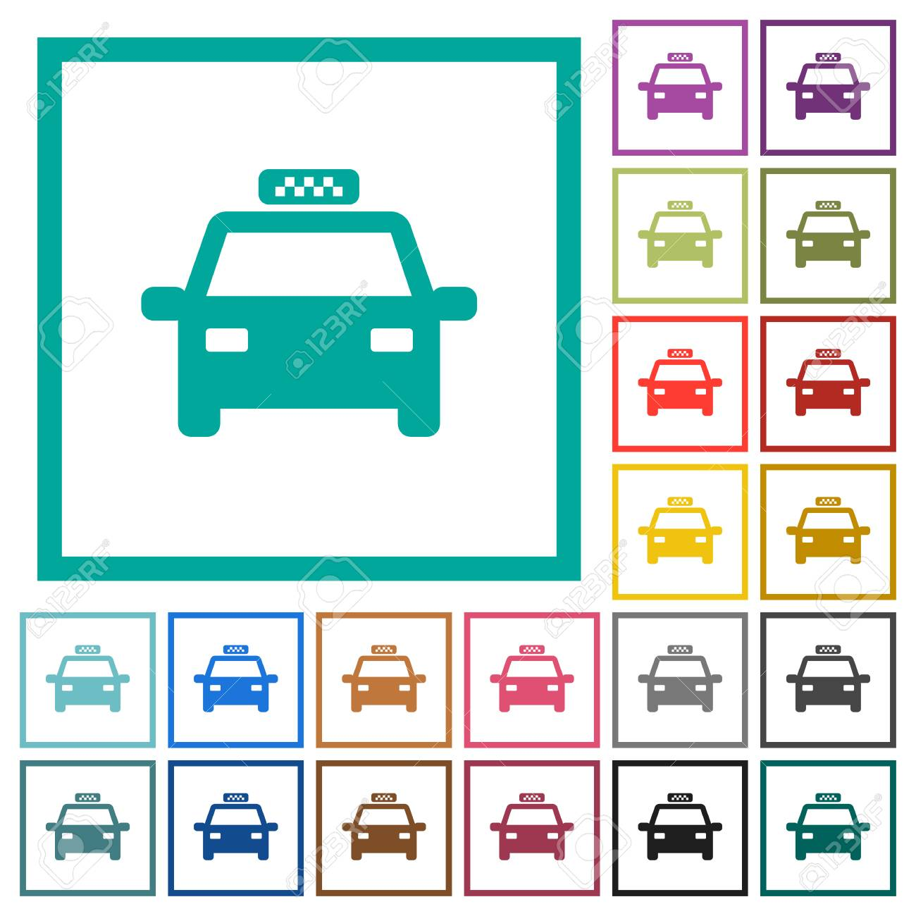 Taxi Car Flat Color Icons With Quadrant Frames On White Background ...