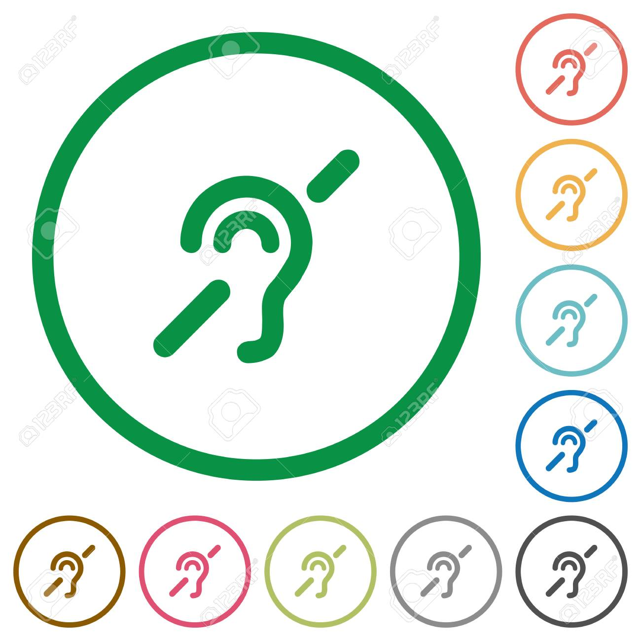 Hearing Impaired Flat Color Icons In Round Outlines On White