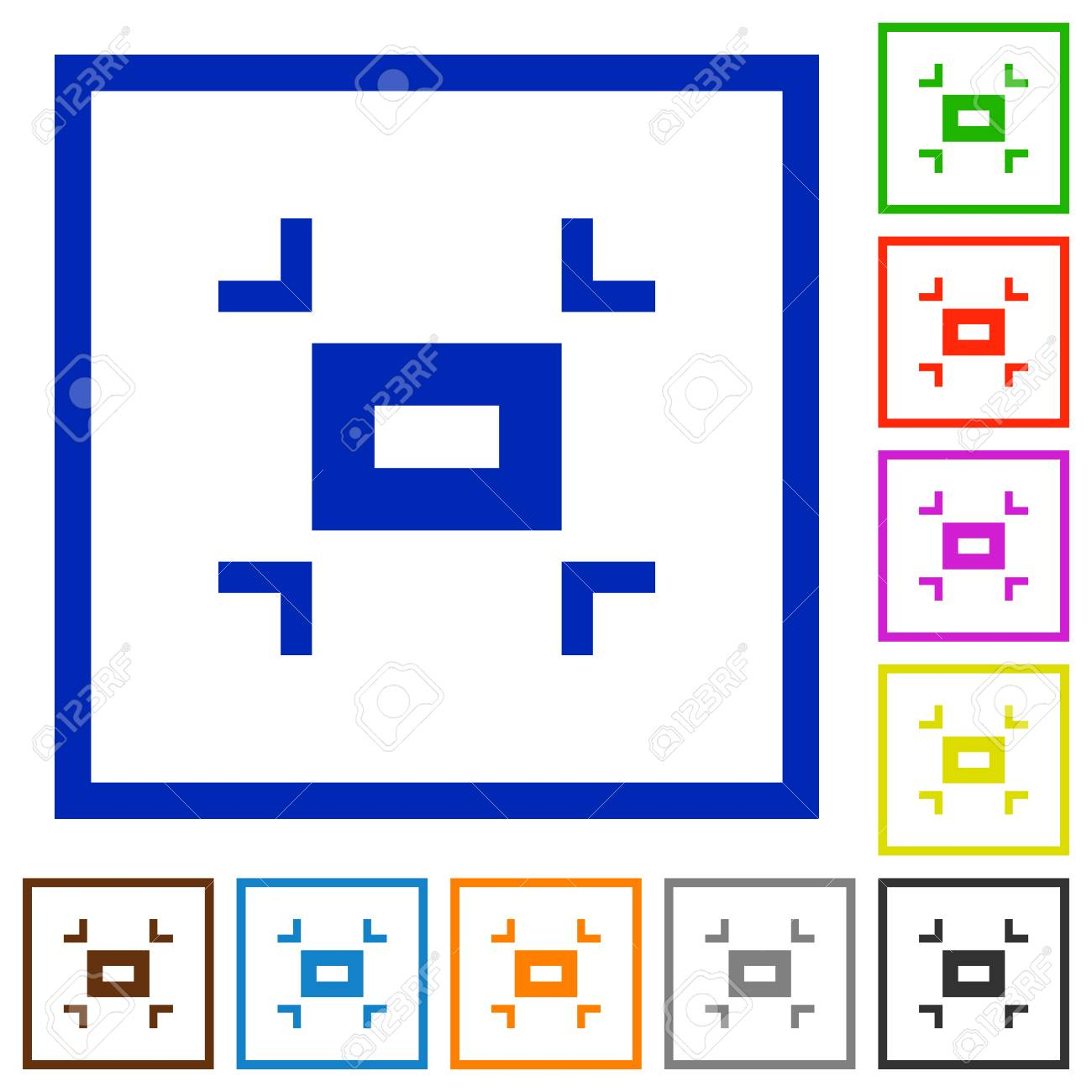 Small Screen Flat Color Icons In Square Frames On White Background ...