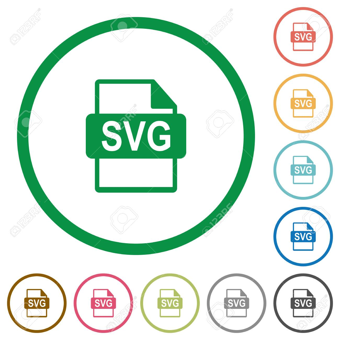 SVG file format flat color icons in round outlines on white background
