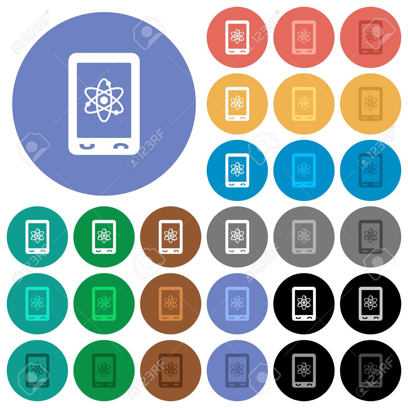Mobile Science Multi Colored Flat Icons On Round Backgrounds Included White Light And Dark