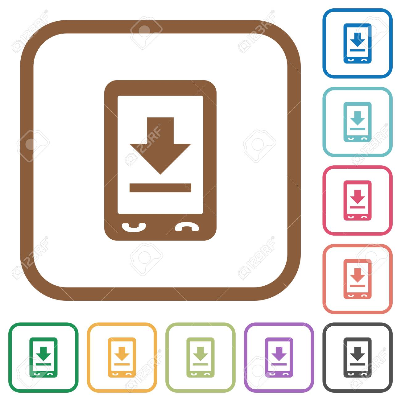 Mobile Download Simple Icons In Color Rounded Square Frames On ...