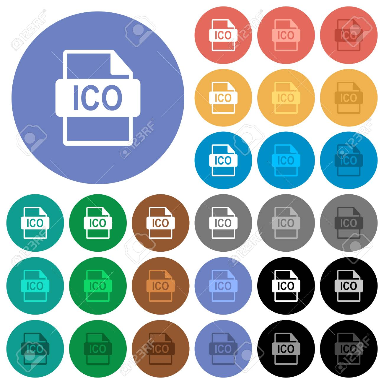 ICO file format multi colored flat icons on round backgrounds