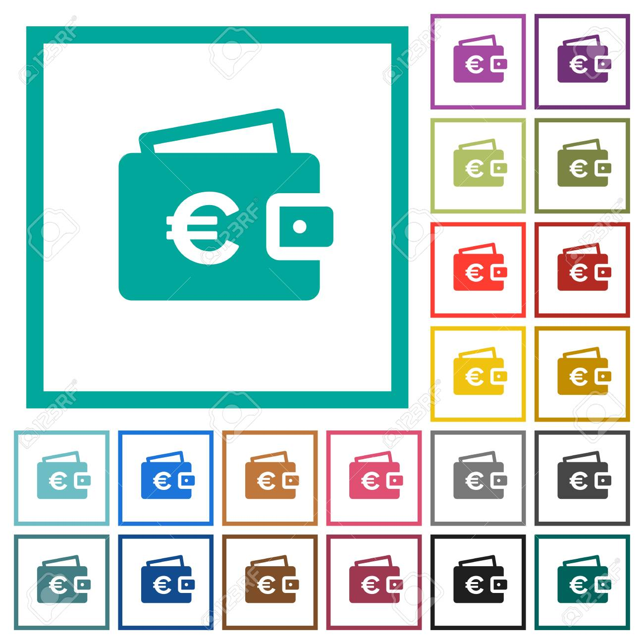 Euro Wallet Flat Color Icons With Quadrant Frames On White ...