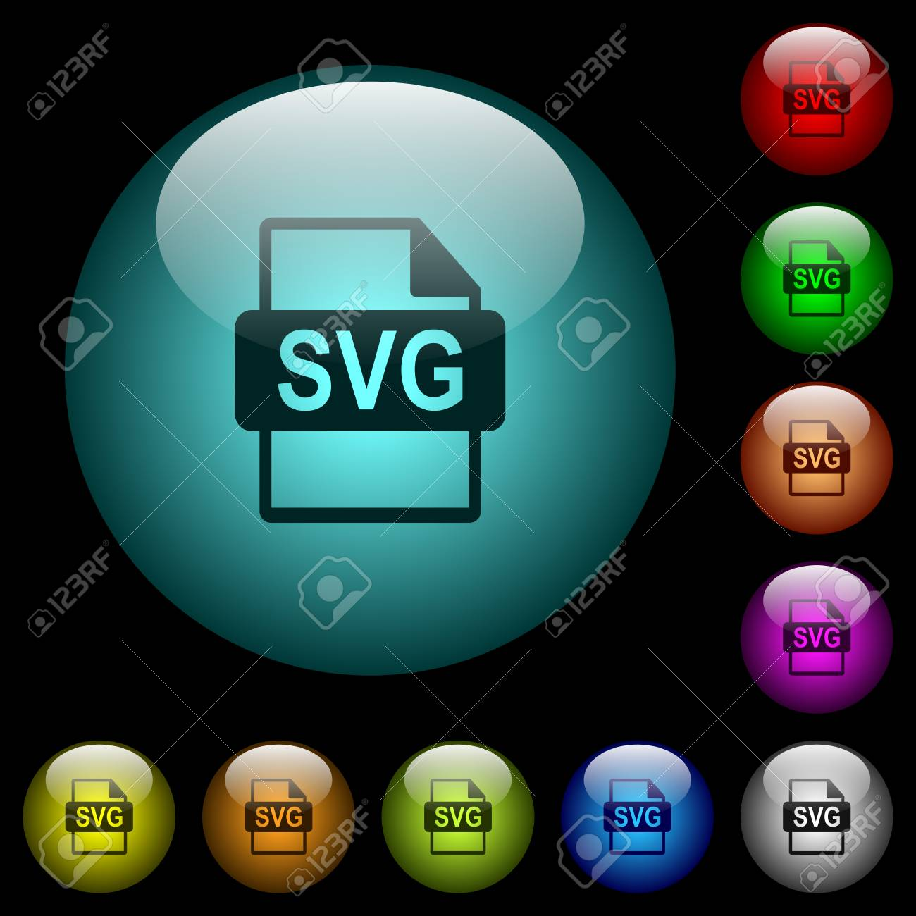 SVG file format icons in color illuminated spherical glass buttons