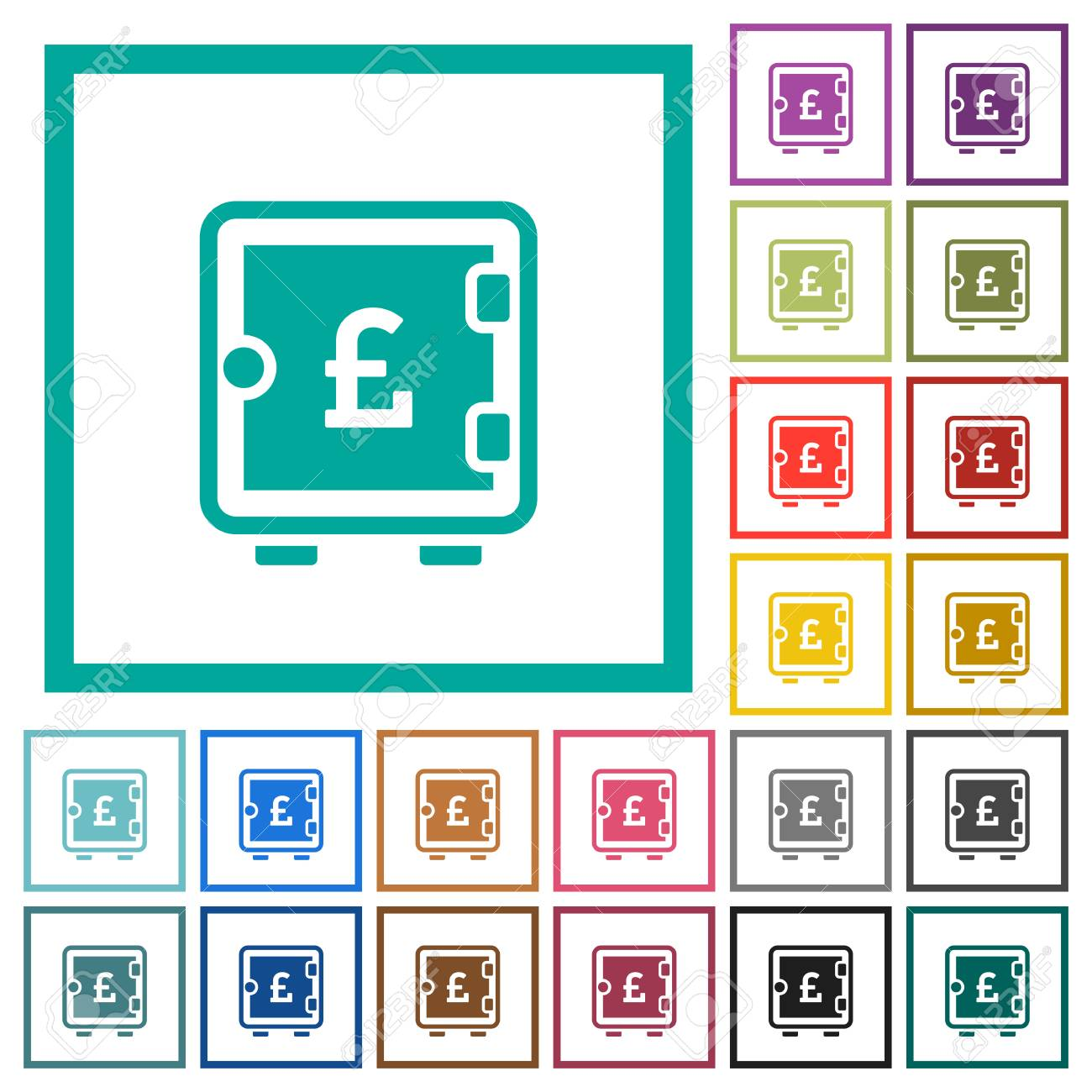 Pound Strong Box Flat Color Icons With Quadrant Frames On White ...