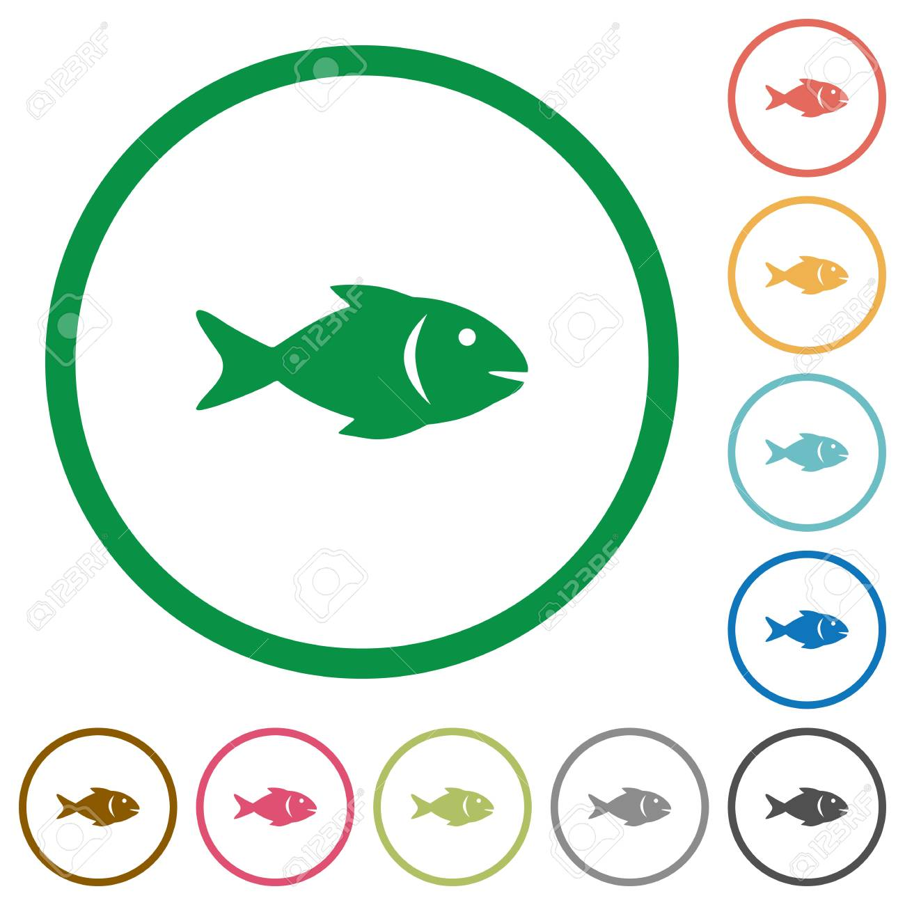 Fish Flat Color Icons In Round Outlines On White Background Royalty ...