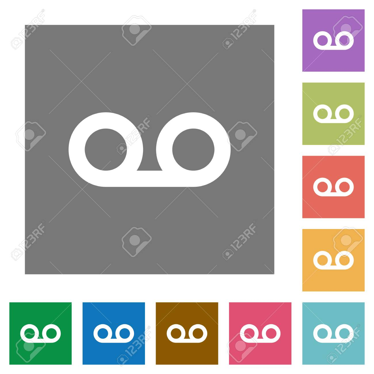 voicemail flat icons on simple color square backgrounds royalty free
