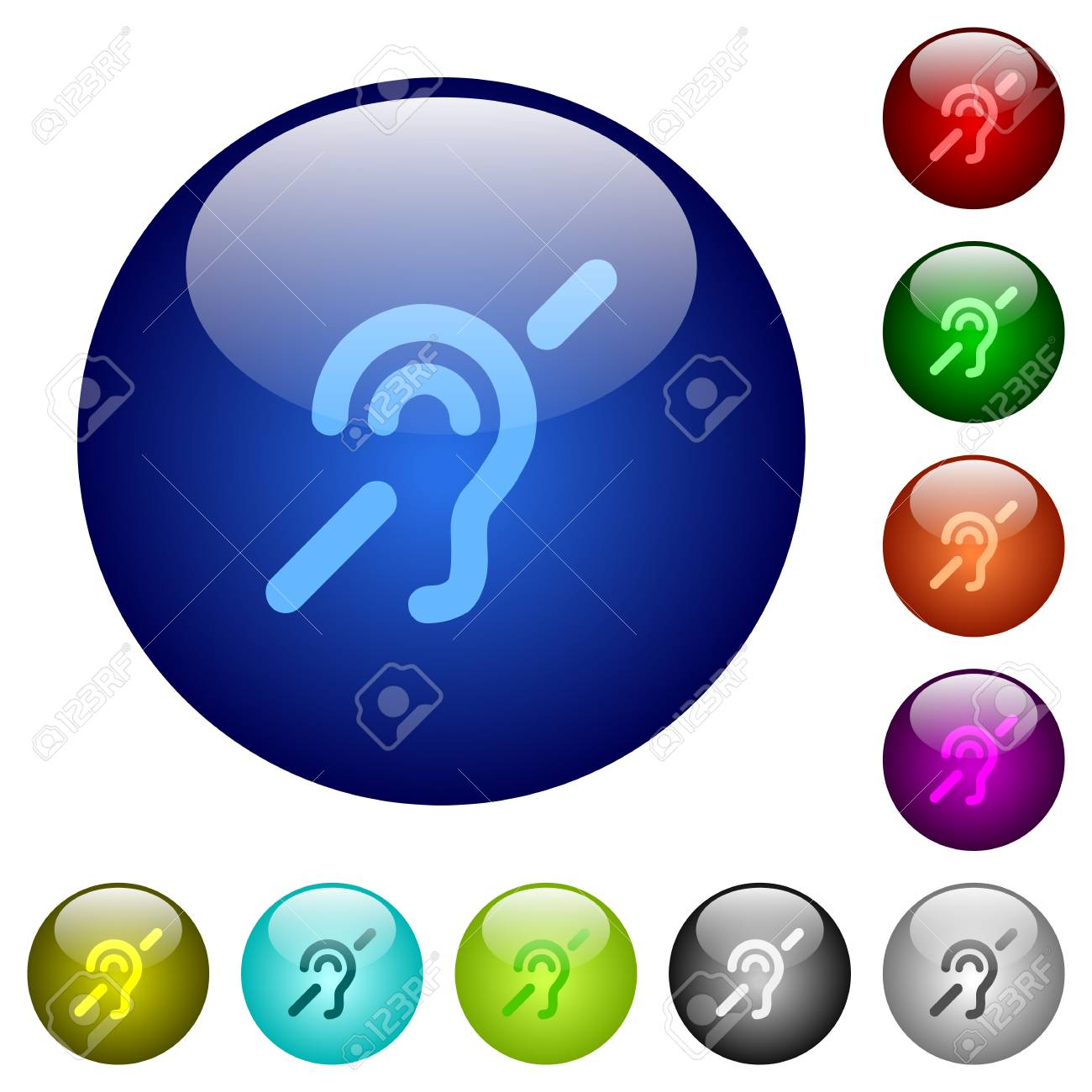 Hearing Impaired Icons On Round Color Glass Buttons Royalty Free