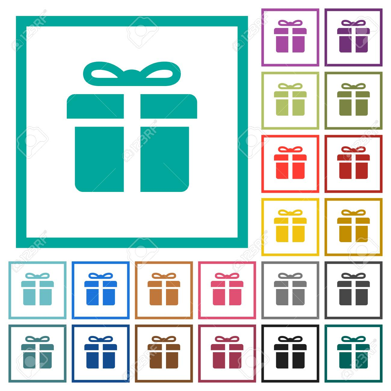 Gift Box Flat Color Icons With Quadrant Frames On White Background ...