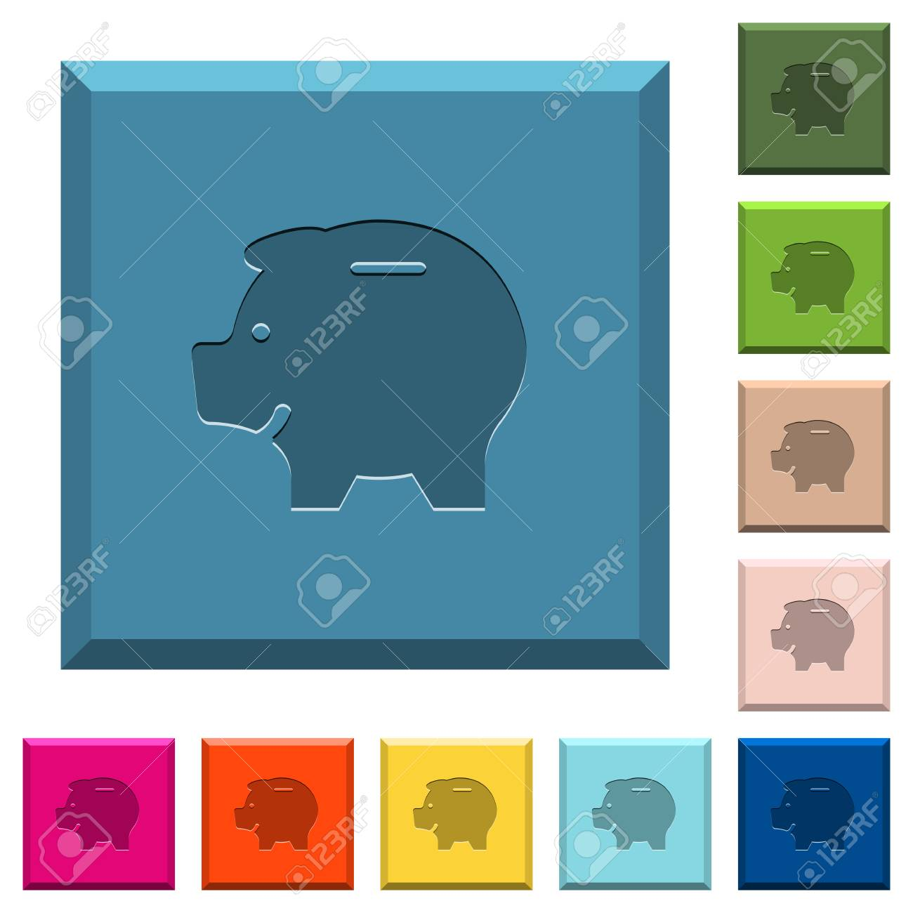 Left Facing Piggy Bank Engraved Icons On Edged Square Buttons