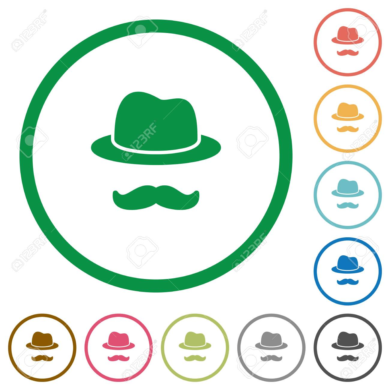 Incognito with mustache flat color icons in round outlines on white background - 111945782