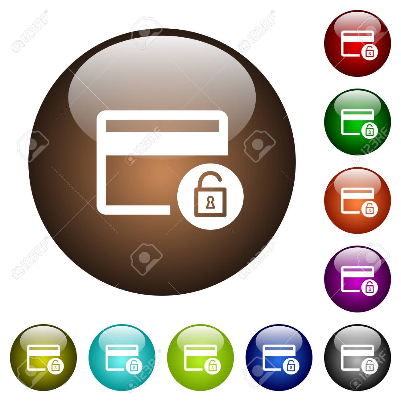 Unlock credit card transactions white icons on round color glass