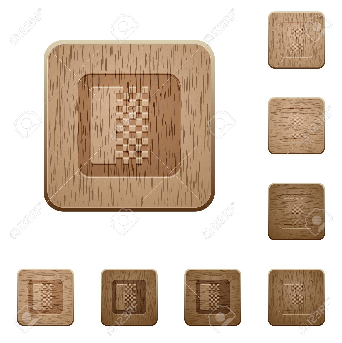 Color gradient on rounded square carved wooden button styles - 127119919