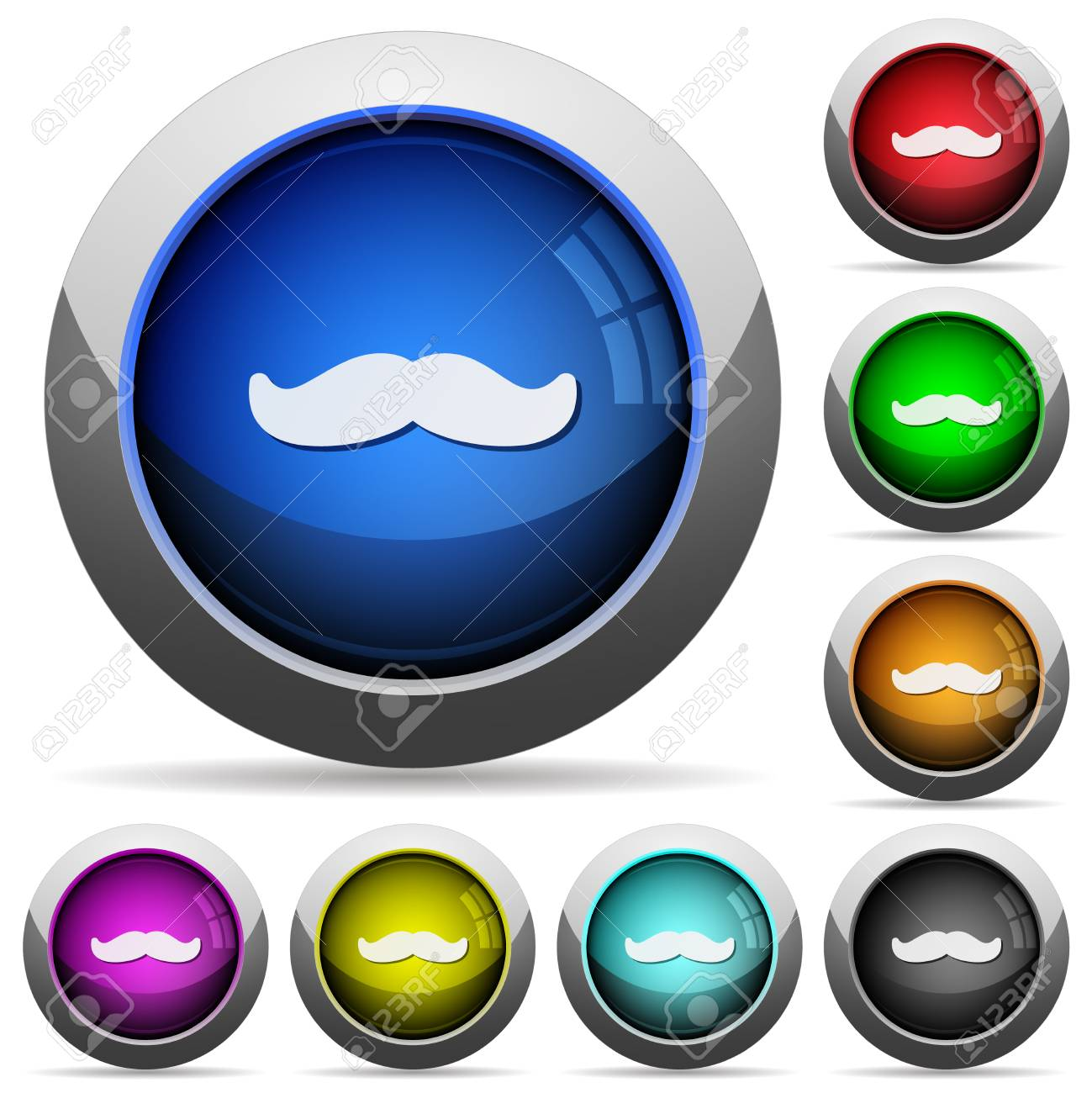 Mustache icons in round glossy buttons with steel frames - 126890711