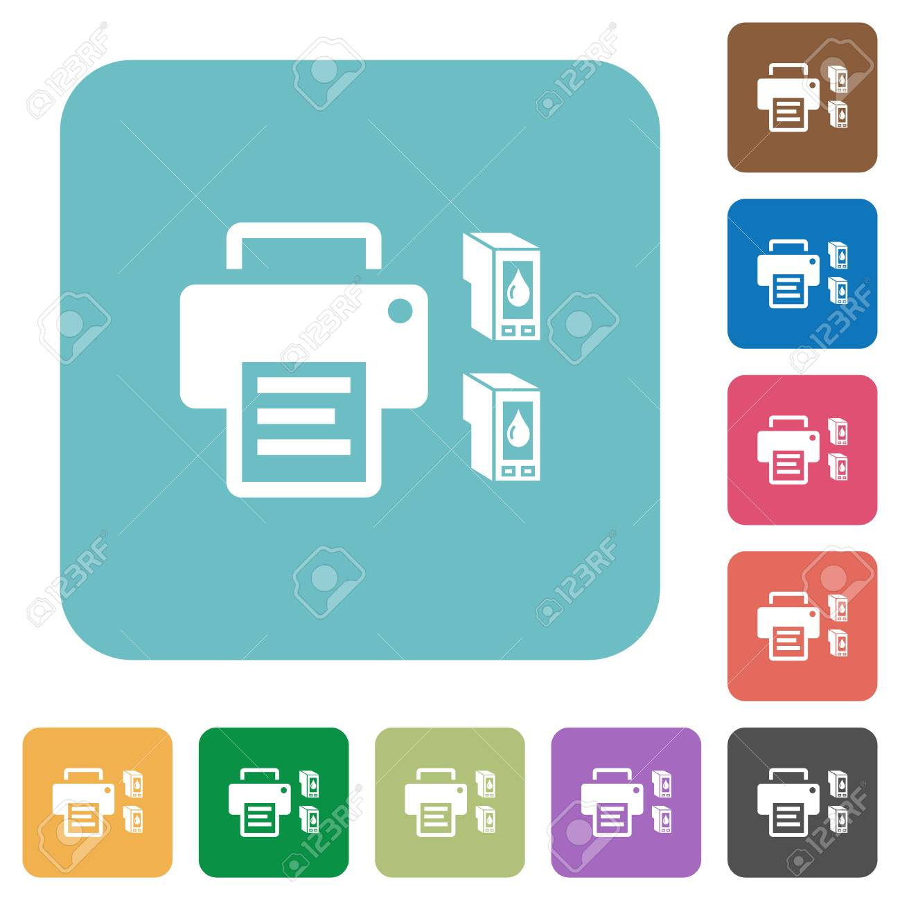 Printer and ink cartridges white flat icons on color rounded square backgrounds - 126011746
