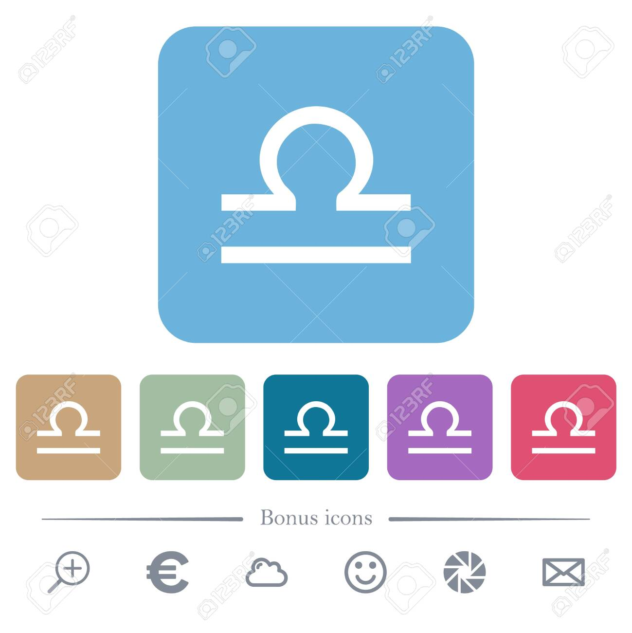 libra zodiac symbol white flat icons on color rounded square