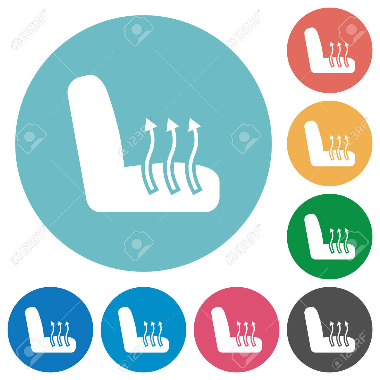 Car seat heating flat white icons on round color backgrounds - 162739535