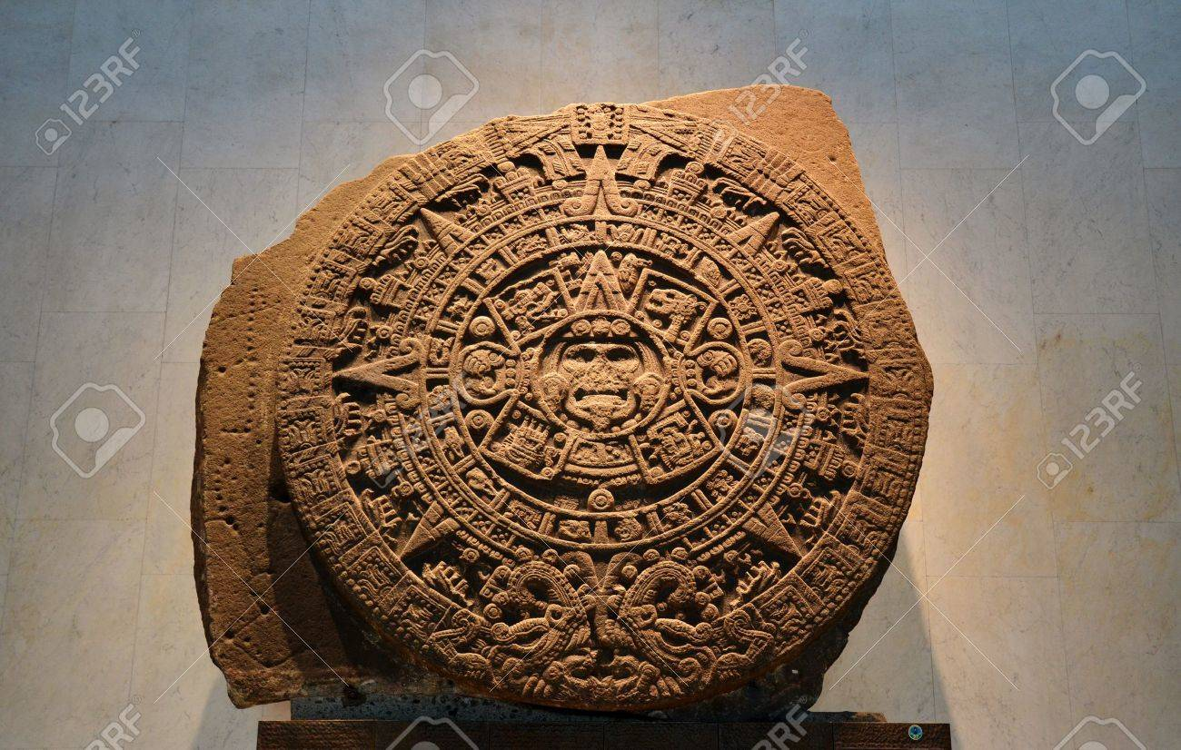 Aztec Calendar Stone.An Ancient Aztec Calendar Stone In The Anthropological Museum