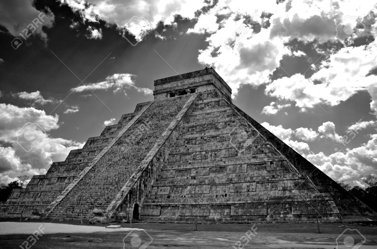 Black and white image of ancient mayan pyramid in chichen itza mexico stock photo