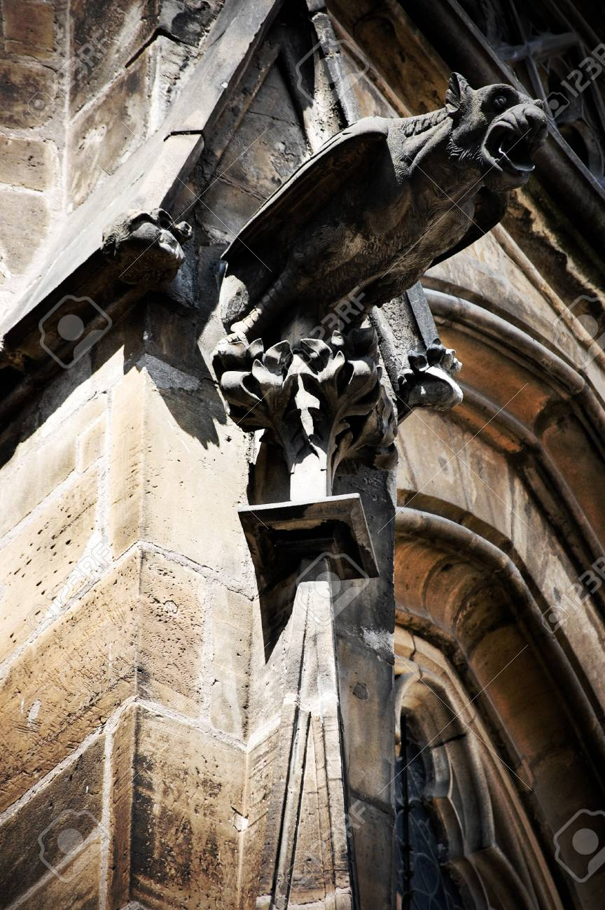 Gothic statue on walls of St Vitus Cathedral in Prague Stock Photo - 10681000