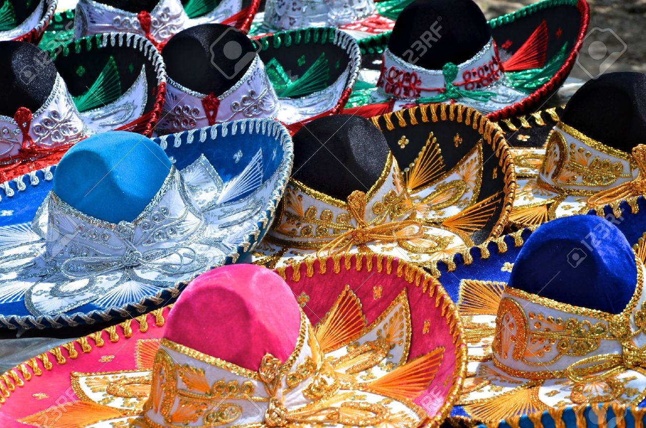 Colorful Sombreros For Sale At A Market In Mexico. Stock Photo ...