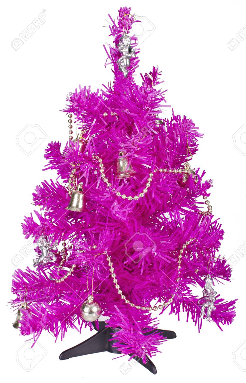 Small Bright Pink Christmas Tree With Decorations On White Stock Photo Picture And Royalty Free Image Image 24525156