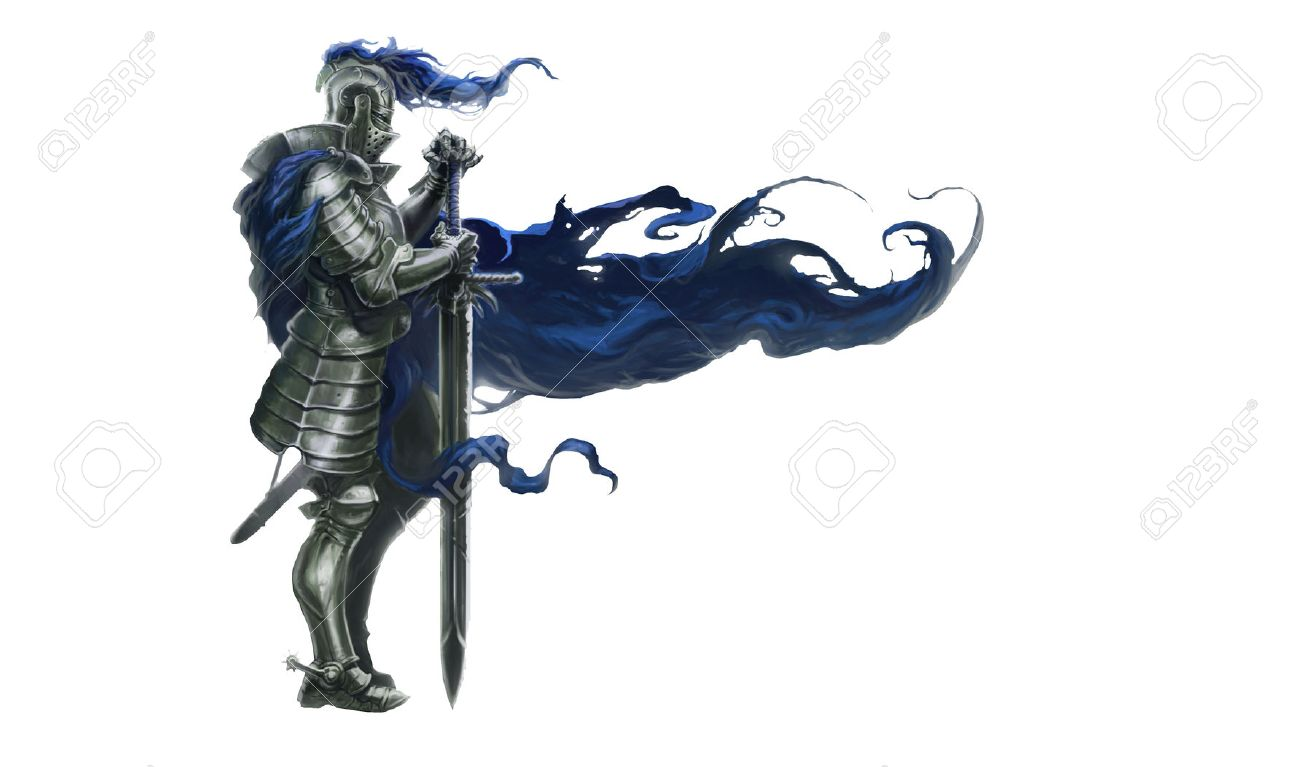 Illustration of medieval knight with long sword and blue robe blowing in wind, white background - 60921476