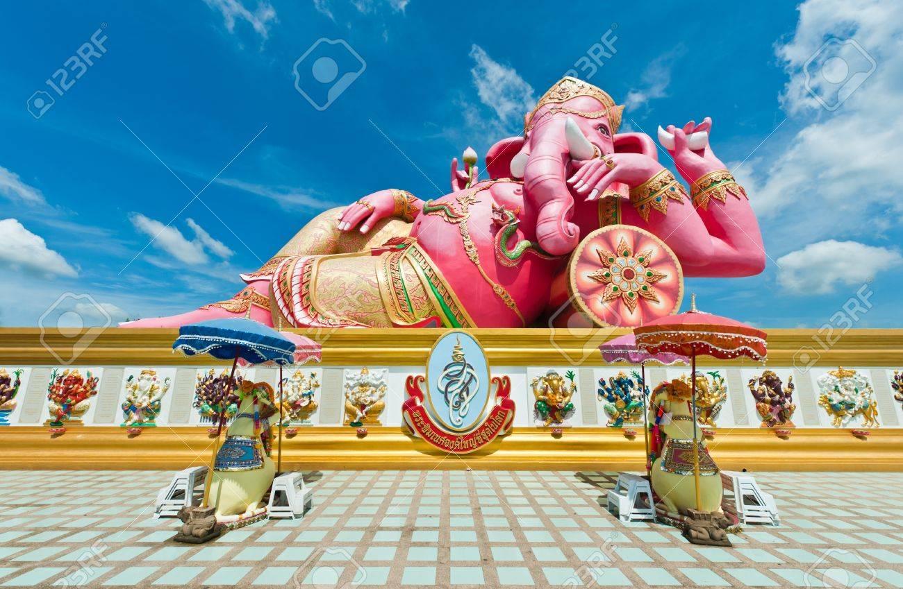 Pink Ganesha Statue At Wat Samarn Chachoengsao Thailand