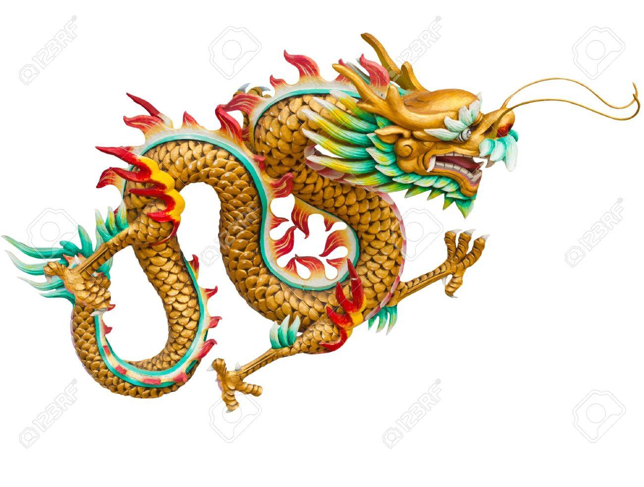 Golden dragon isolated on white background Stock Photo - 10748077