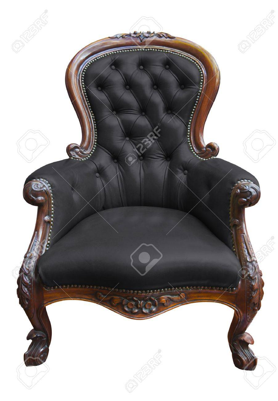 Antique black leather chairs - Stock Photo Vintage Black Leather Armchair On White With Clipping Path
