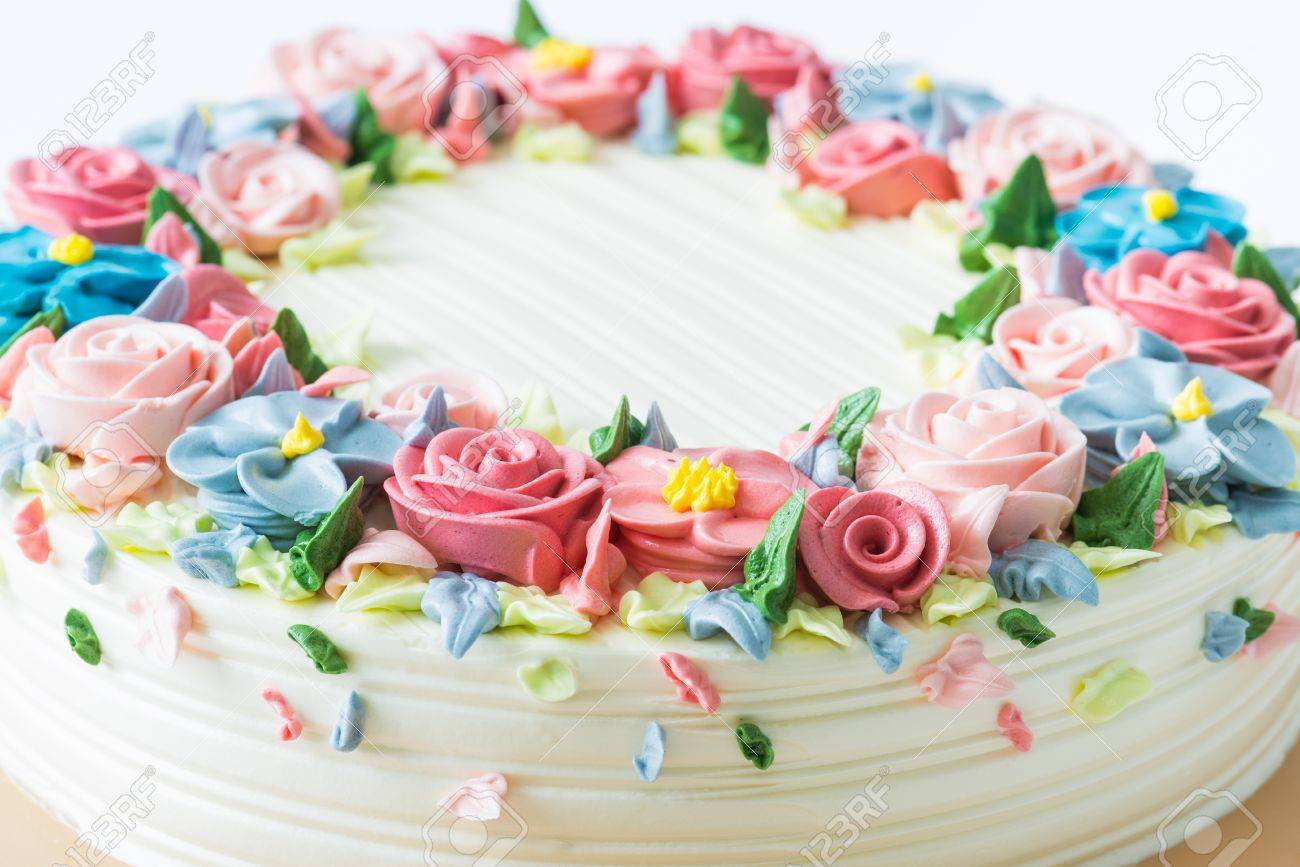 Birthday Cake With Flowers Stock Photo Picture And Royalty Free