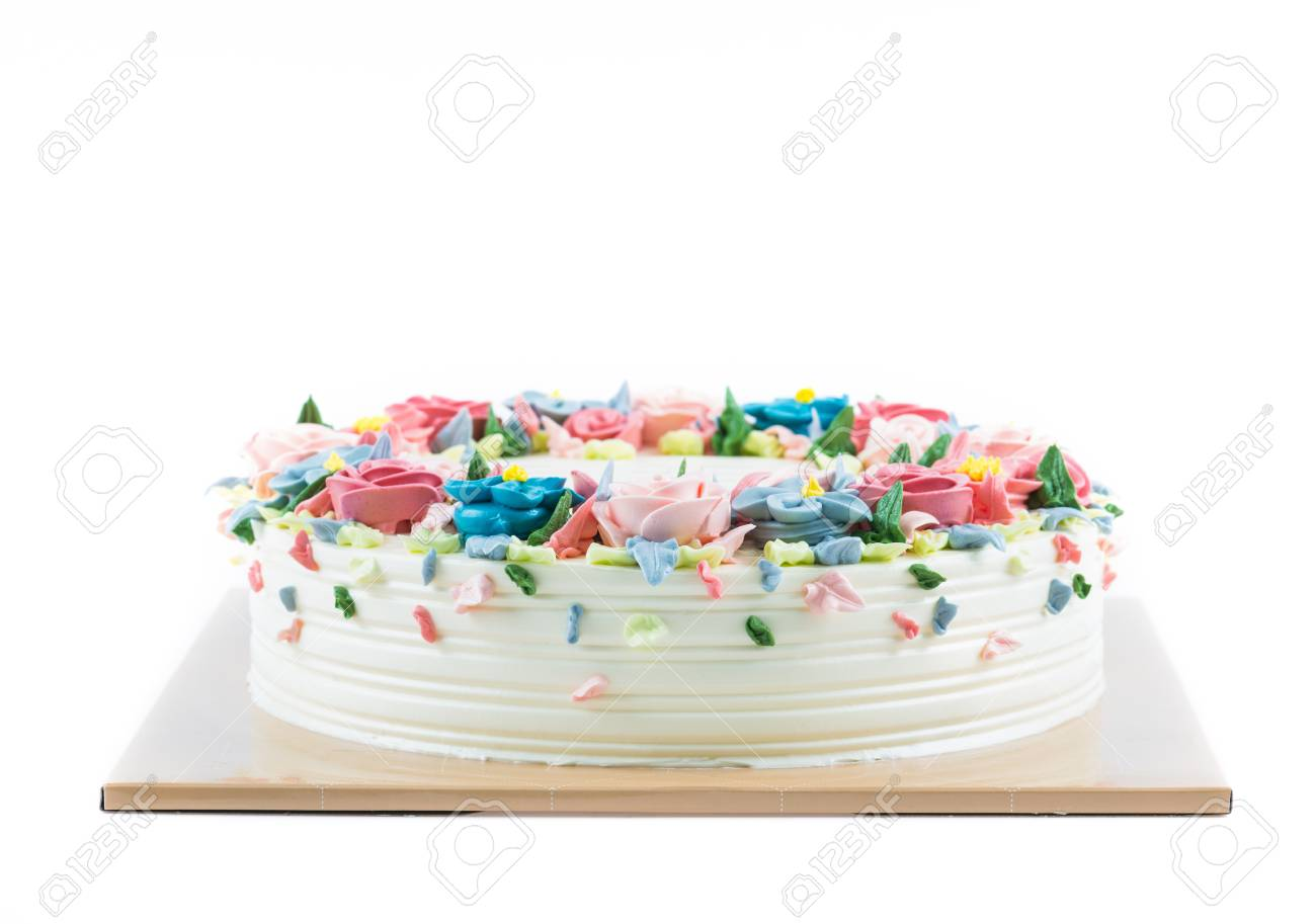 Birthday Cake With Flowers On White Stock Photo Picture And Royalty