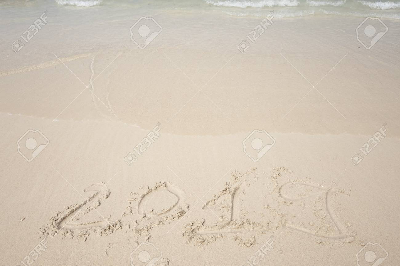Happy New Year 2019 Lettering On The Beach Stock Photo Picture