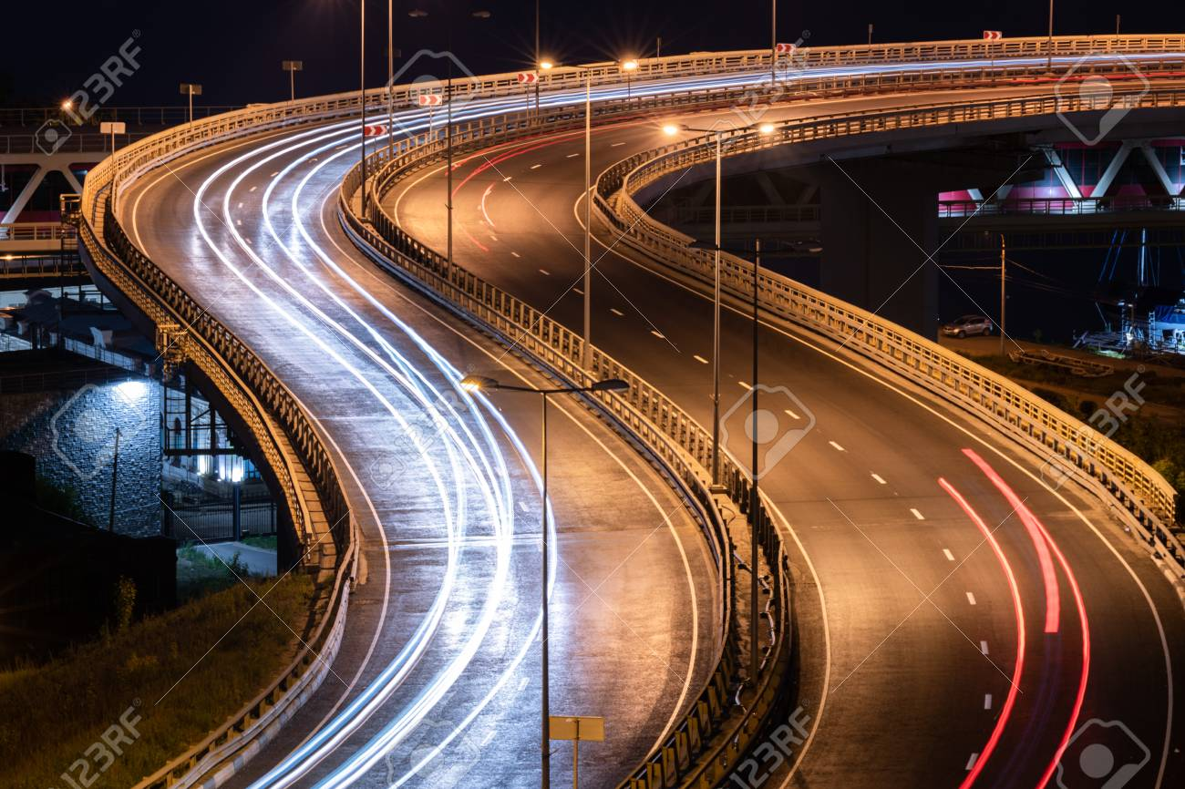 Interchange Bridge Road With Car Light Streaks Night Light Painting Stock Photo Picture And Royalty Free Image Image 111358669
