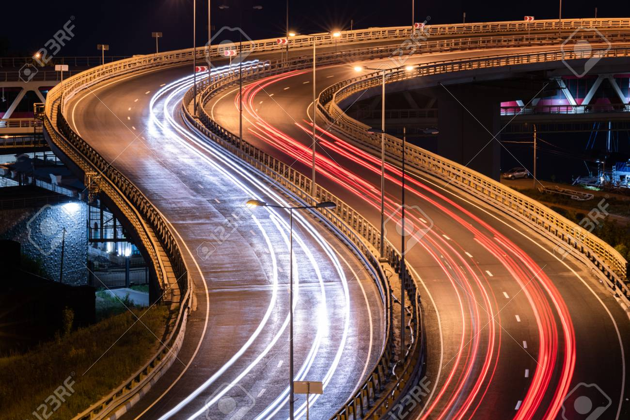 Interchange Bridge Road With Car Light Streaks Night Light Painting Stock Photo Picture And Royalty Free Image Image 111359403