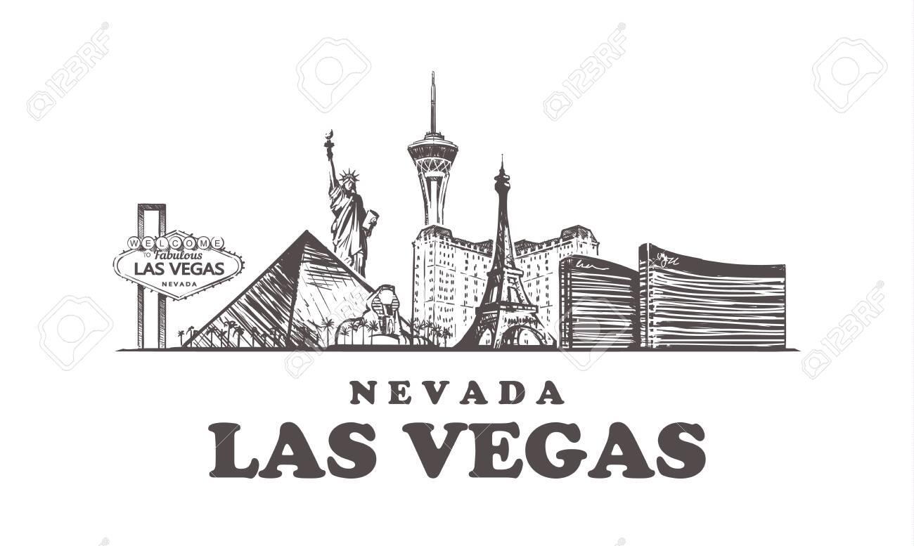 Las Vegas sketch skyline. Nevada, Las Vegas hand drawn vector illustration. Isolated on white background. - 124448461