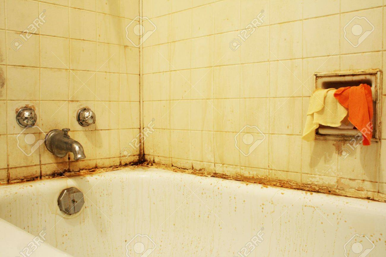 Water stains on walls in bathroom - A Filthy Bathtub With Mold And Stains And Dirty Water Concept For Poverty Or Renovation Repair