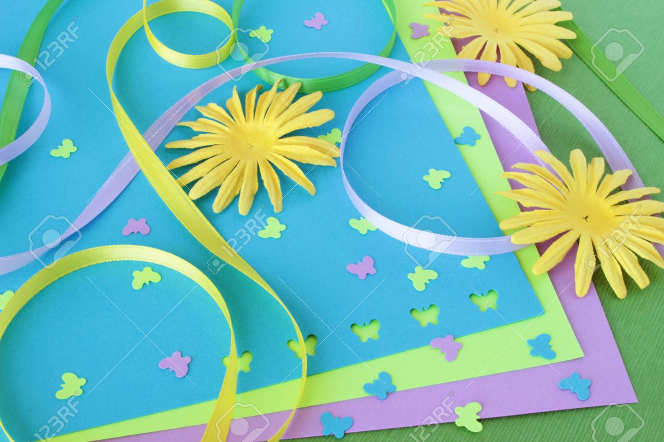 A Spring Themed Collection Of Card Making Or Scrapbooking Supplies
