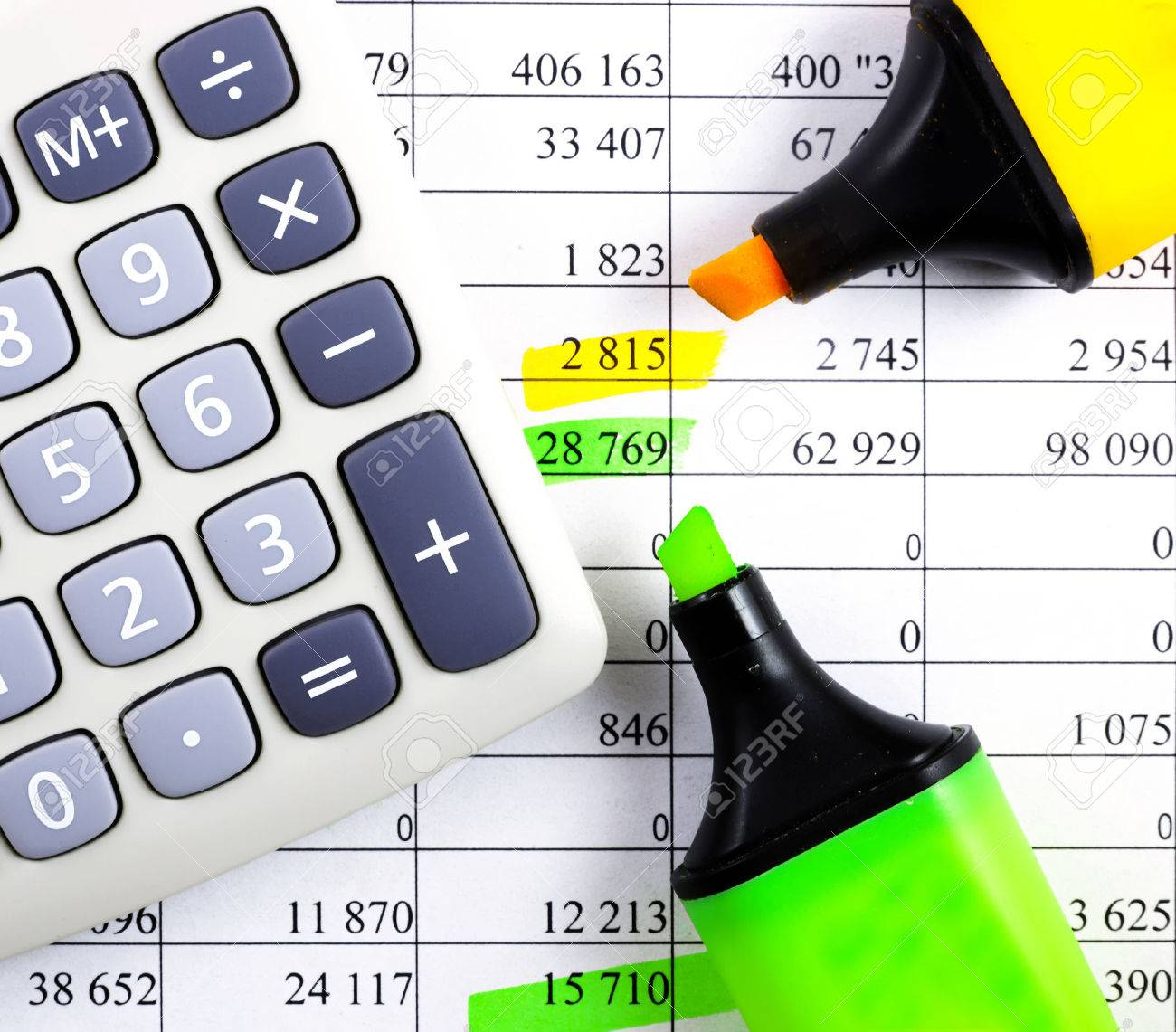 Calculator, highlighter and markers on financial statements. - 62558516