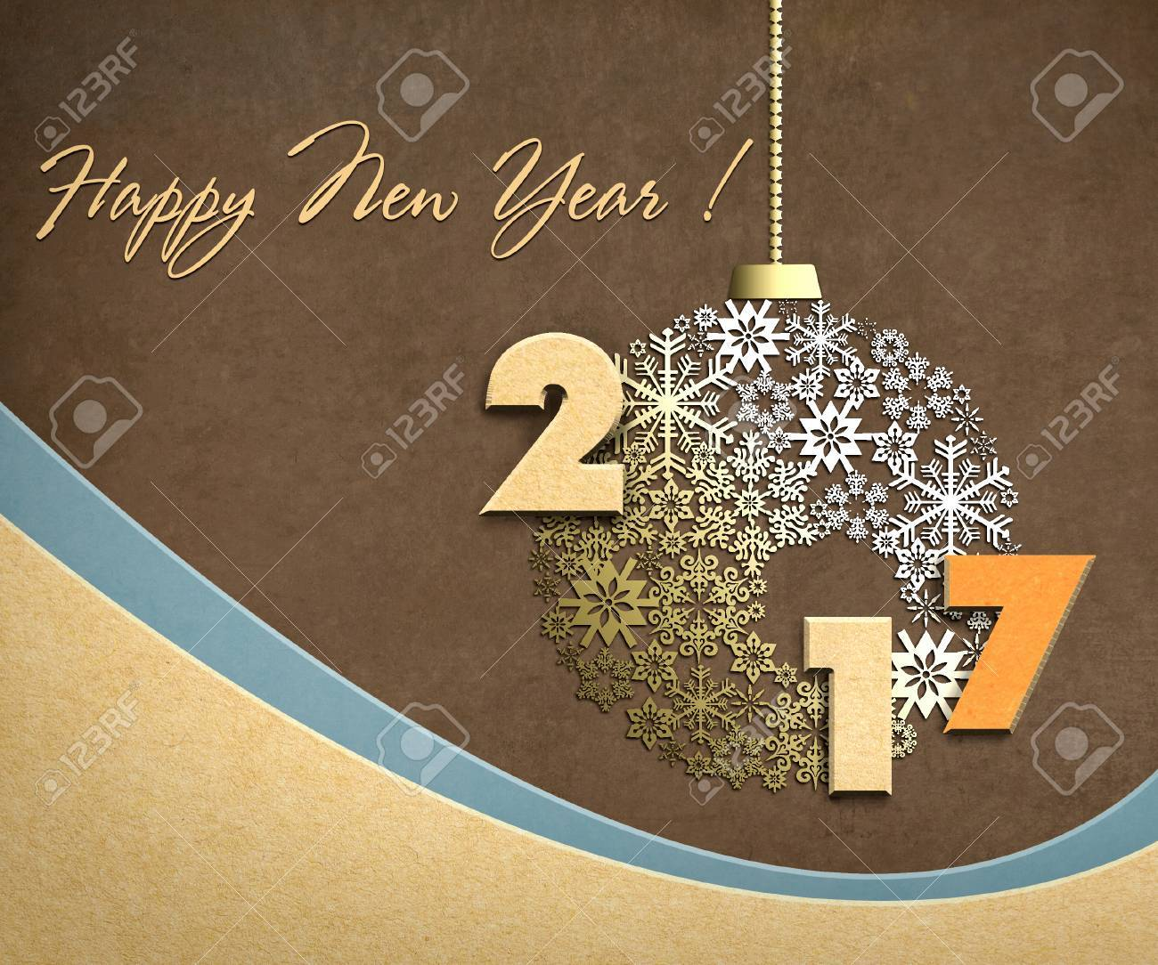 Happy new year 2017 creative design background with paper cuttings. - 62797144