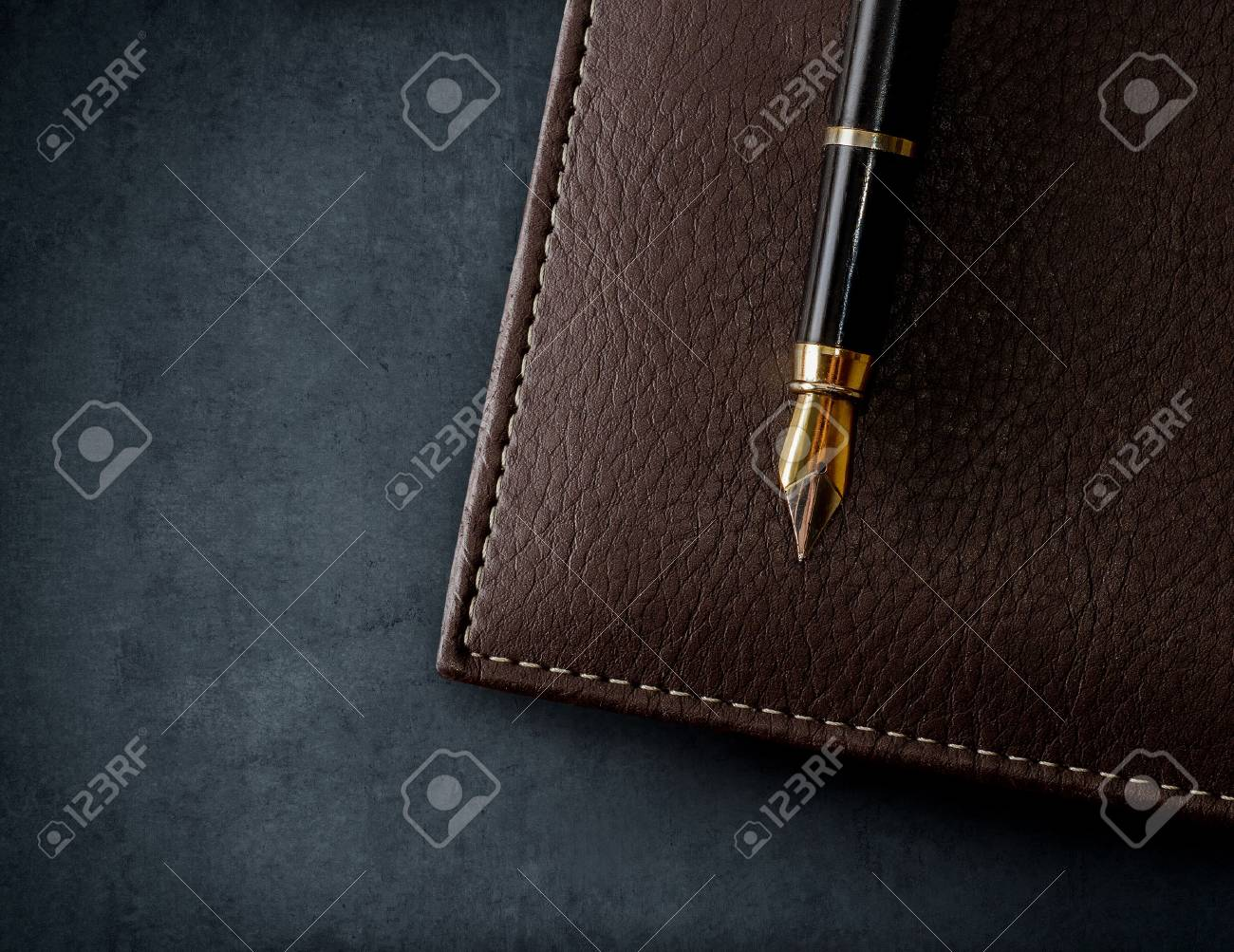Leather brown notebook with fountain pen. Business background. - 66293909