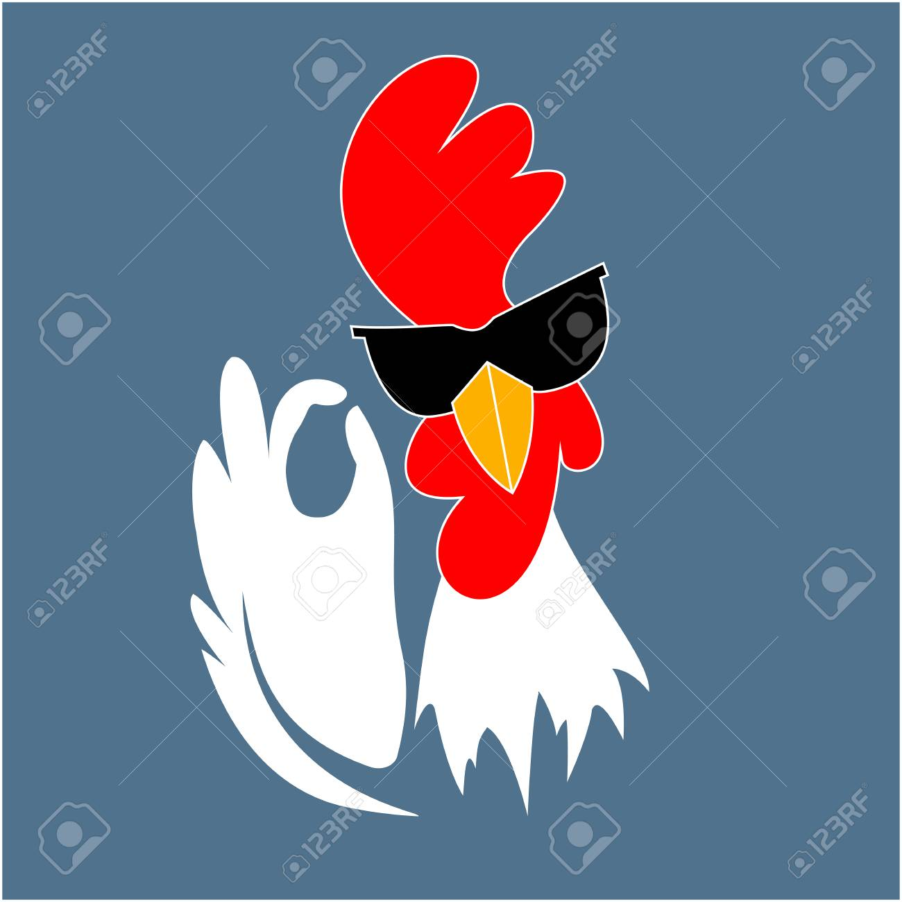 Rooster in sunglasses showing OK sign gesture. Cock. Chinese New Year 2017 symbol. Best chicken - 66295385