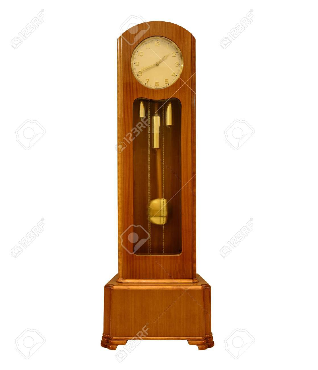 Vintage grandfather clock on white. - 70229064