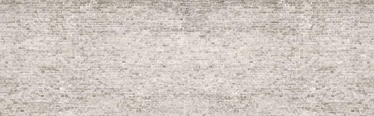 White wash old brick wall panorama. - 83799931