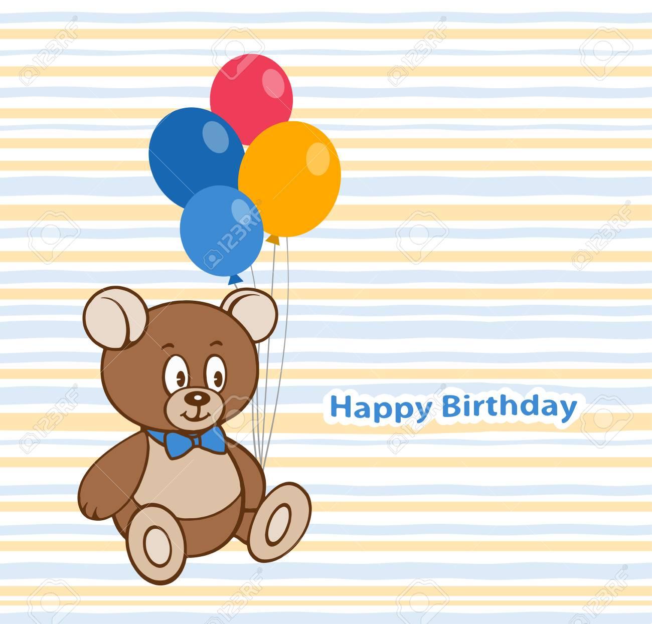 Birthday Card Design With A Cute Teddy Bear And Balloons Royalty