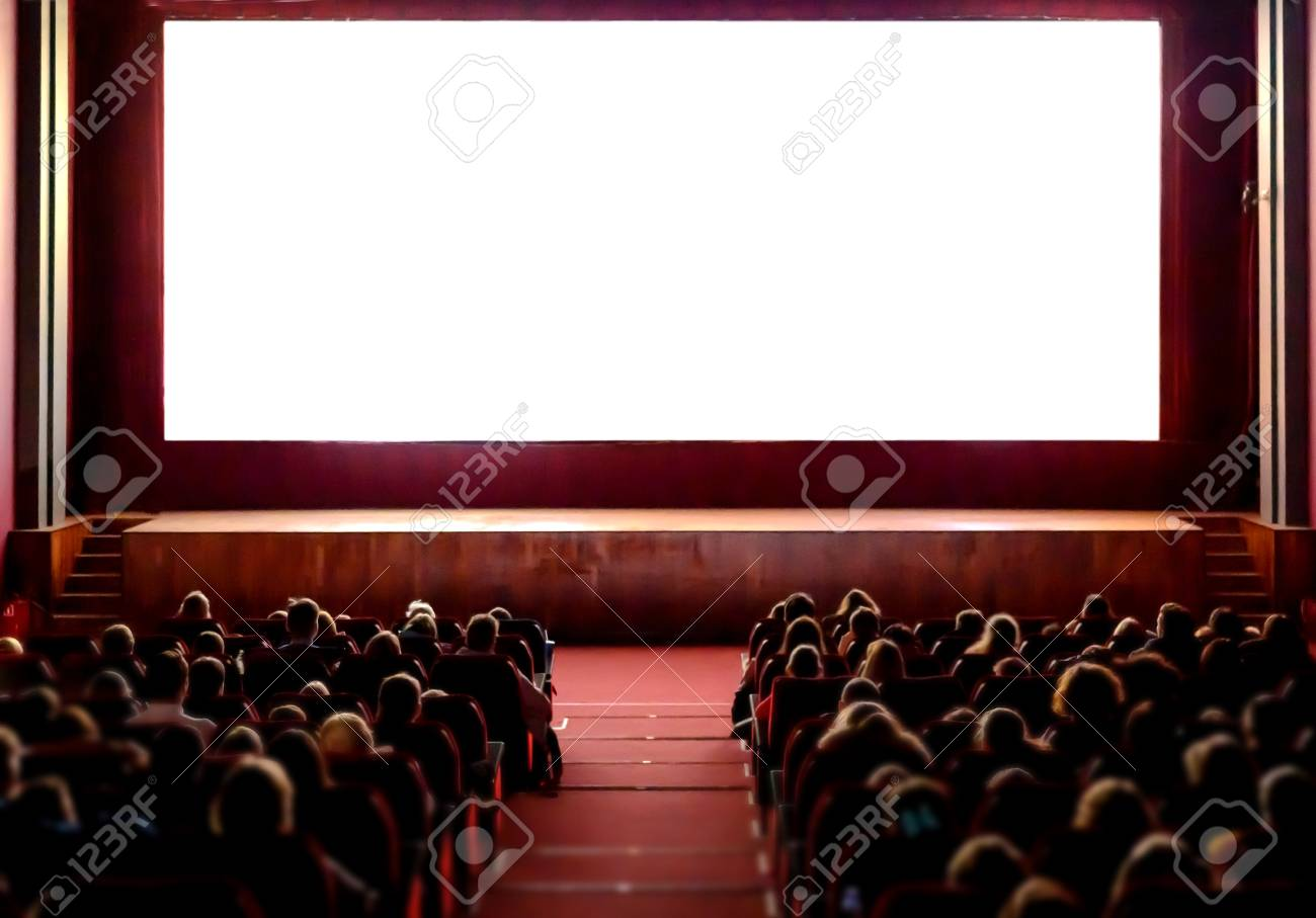 People in the cinema auditorium with empty white screen. - 118790748