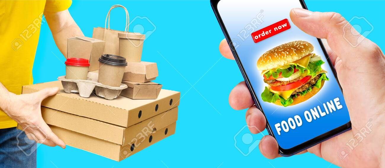 Hand holding phone with app ordering and delivery food over aqua background with delivery man. - 143861073
